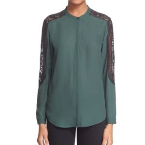 The Kooples Lace Inset Crepe Shirt Forest Green